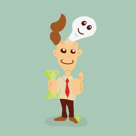 businessman earning Money from ideas Stock Vector - 18846765