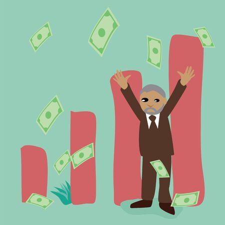 Successful business man. Cartoon character.Vector Illustration Stock Vector - 18900887