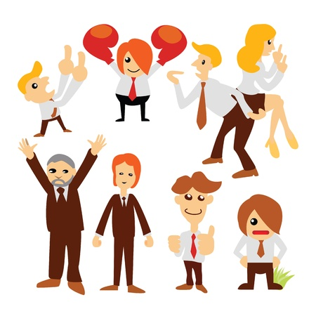Group cartoon business people character set  Vector