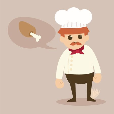 cartoon chef:  cartoon chef vector in a chef hat with red bandana around his neck, mustache Illustration