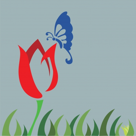 tulip field and butterfly  Vector