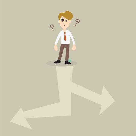 man confused: businessman choosing right way