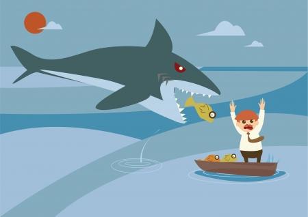 big fish and smallfish investment concept