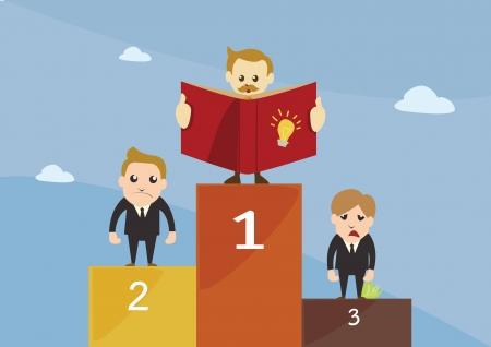 Competition,Winner stand on podium Illustration