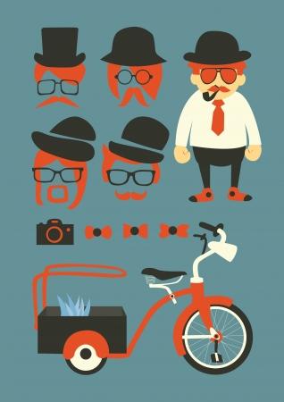 communicatio: mastache background,elements and icons Illustration