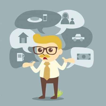 businessman and planning of life Illustration