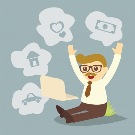 employee satisfaction: dreaming man while working at computer notebook