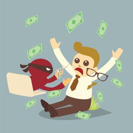 office theft: computer crime, concept cartoon vector