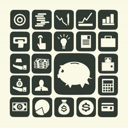 Finan�as e dinheiro icon set Ilustração