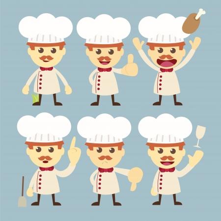 chef character set cartoon Stock Vector - 19121092
