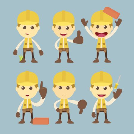 cartoon safety: Industrial Construction Worker character set cartoon