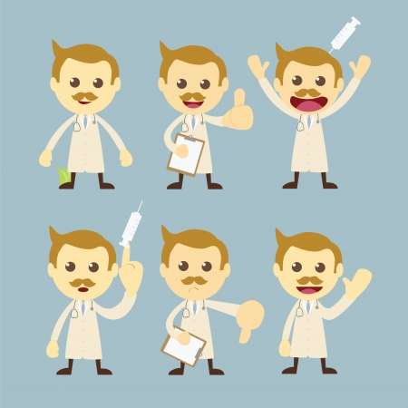 doctor character set cartoon Vector