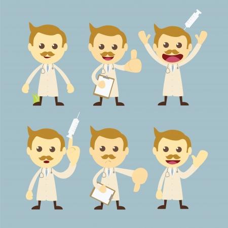 médico set personagem de desenho animado Ilustração
