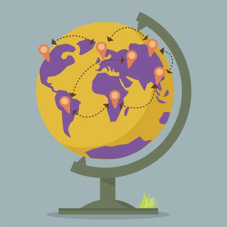 World Globe Maps network Stock Vector - 19121110