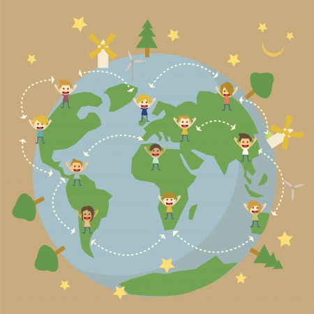 planeta tierra feliz: Mapa del mundo Globe, los niños de todo el mundo salvar el planeta tierra