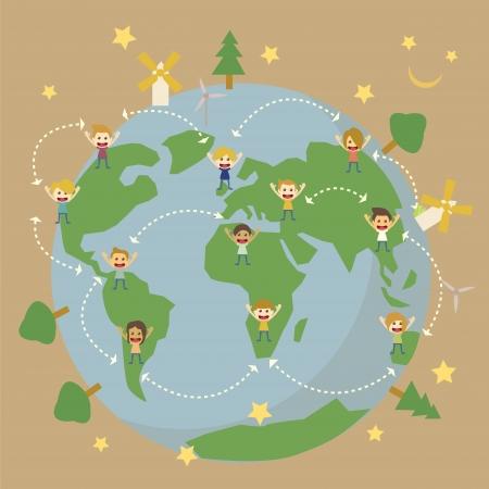 World Globe map,children around the world save the planet earth