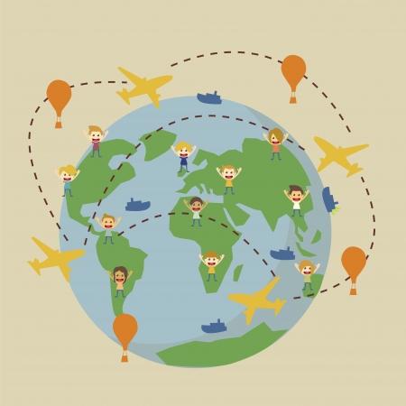 air travel: Mondo globo mappa con aerei, barche, mongolfiera Vettoriali