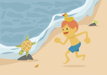 man on the beach,holiday Vector