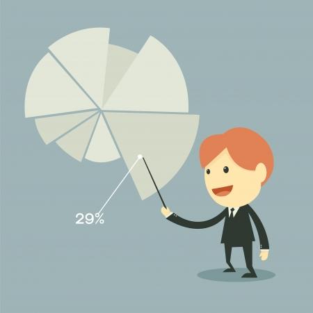 businessman points to chart of profit  Illustration
