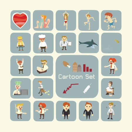 old business man: Set of cartoon characters Illustration