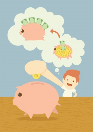 Saving piggy bank Stock Vector - 19378853