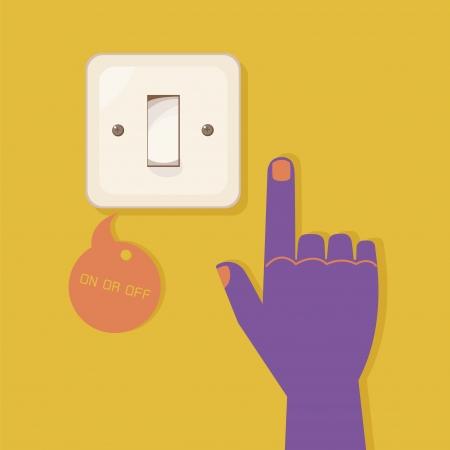 m�o interruptor eletr�nico prensagem
