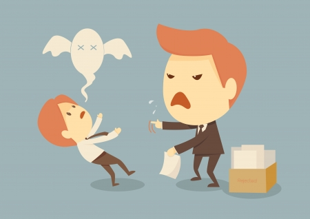bad man: angry boss with employee  Illustration