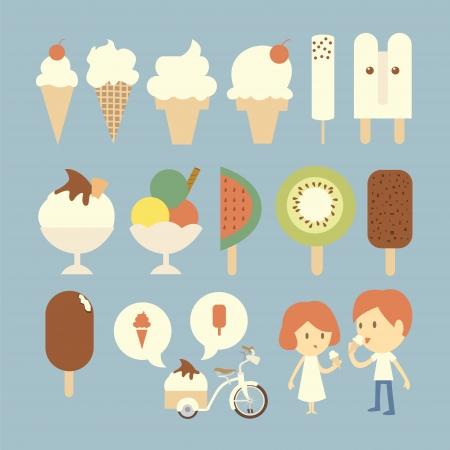 ice cream sundae: Ice cream set Illustration