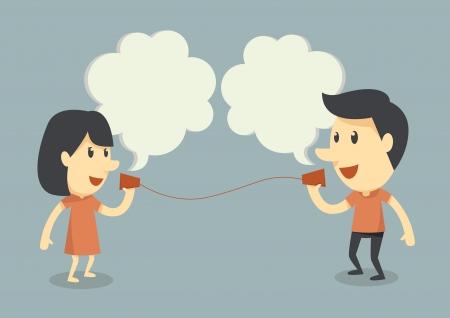 Gespräche mit Tasse Telefon Standard-Bild - 19577120