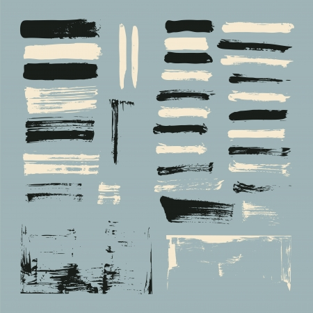 trace: set of paint brush strokes