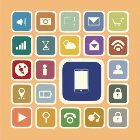 Anwendungs-Symbole für Smartphone-und Web-Aufkleber Standard-Bild - 20067704