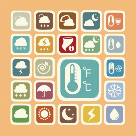 Icon set of weather sticker Illustration