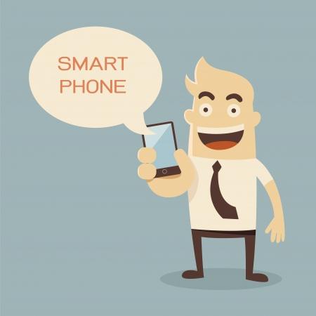 man on cell phone: Dibujos animados de negocios que sostiene el tel�fono elegante
