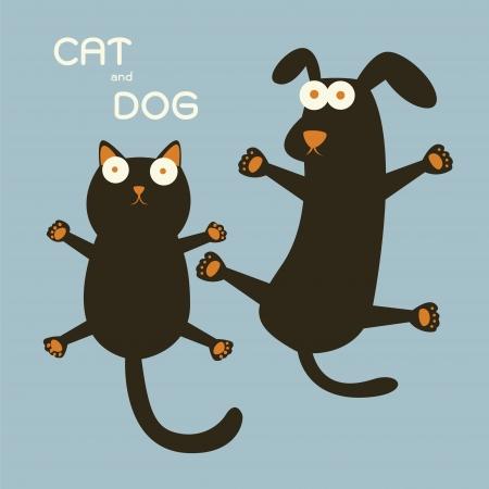 silueta gato negro: Gato y perro Vectores