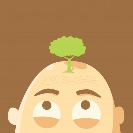 �rvore na cabe�a Glabrous, conceito do aquecimento global Ilustração