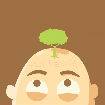 Tree on Glabrous head,global warming concept Vector