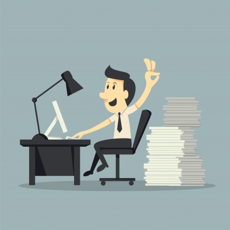 financial consultant: Hard Working  Illustration