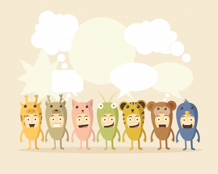 Animal and Speech Bubbles Vector