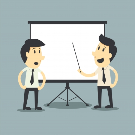 present presentation: businessman presenting, white billboard with empty space  Presentation screen   Illustration