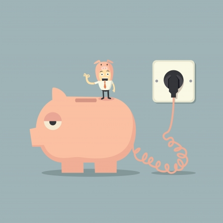 battery charger: Battery charger piggy bank Illustration