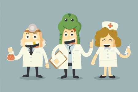 doctor and nurse team set