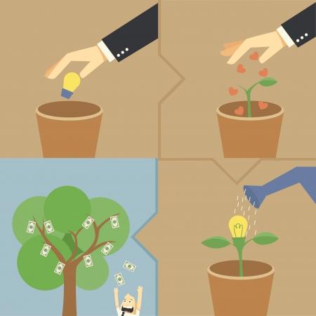 �conomie verte: �tape faire de l'argent de l'id�e Illustration
