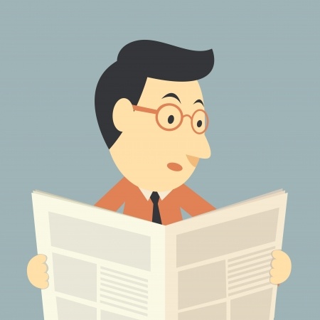 businessman reading a newspaper  Vector