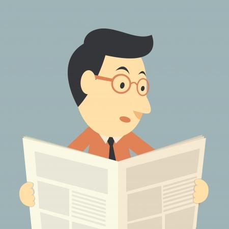 financial newspaper: businessman reading a newspaper  Illustration