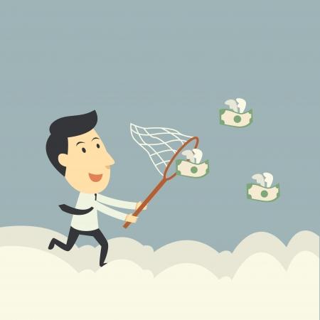 recoger: hombre de negocios tratando de atrapar moscas dinero