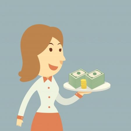 Waiter holding money Stock Vector - 21688803