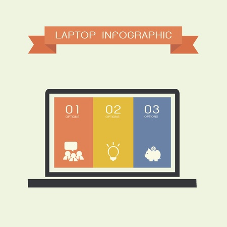 compute: simply infographic template with laptop compute