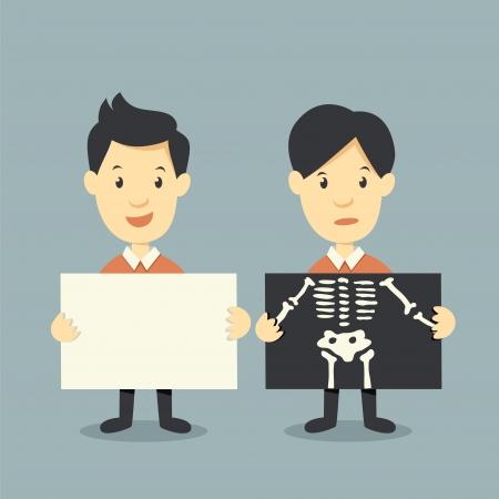 segurando papel e x ossos verificação ray