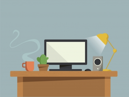 Computer desk Illustration