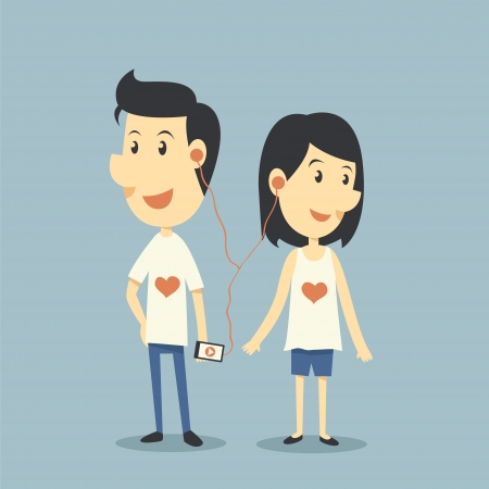 donna innamorata: Coppia felice in amore con il gioco canzone